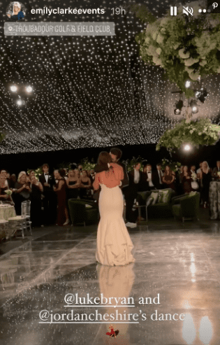 A screengrab of Luke Bryan dancing with his niece Jordan Cheshire on her wedding day | Source: Instagram/@emilyclarkeevents