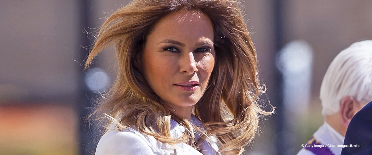 Melania Trump Looks Angelic in a White Coat, and Her Nude Snakeskin Pumps Are Eye-Catching