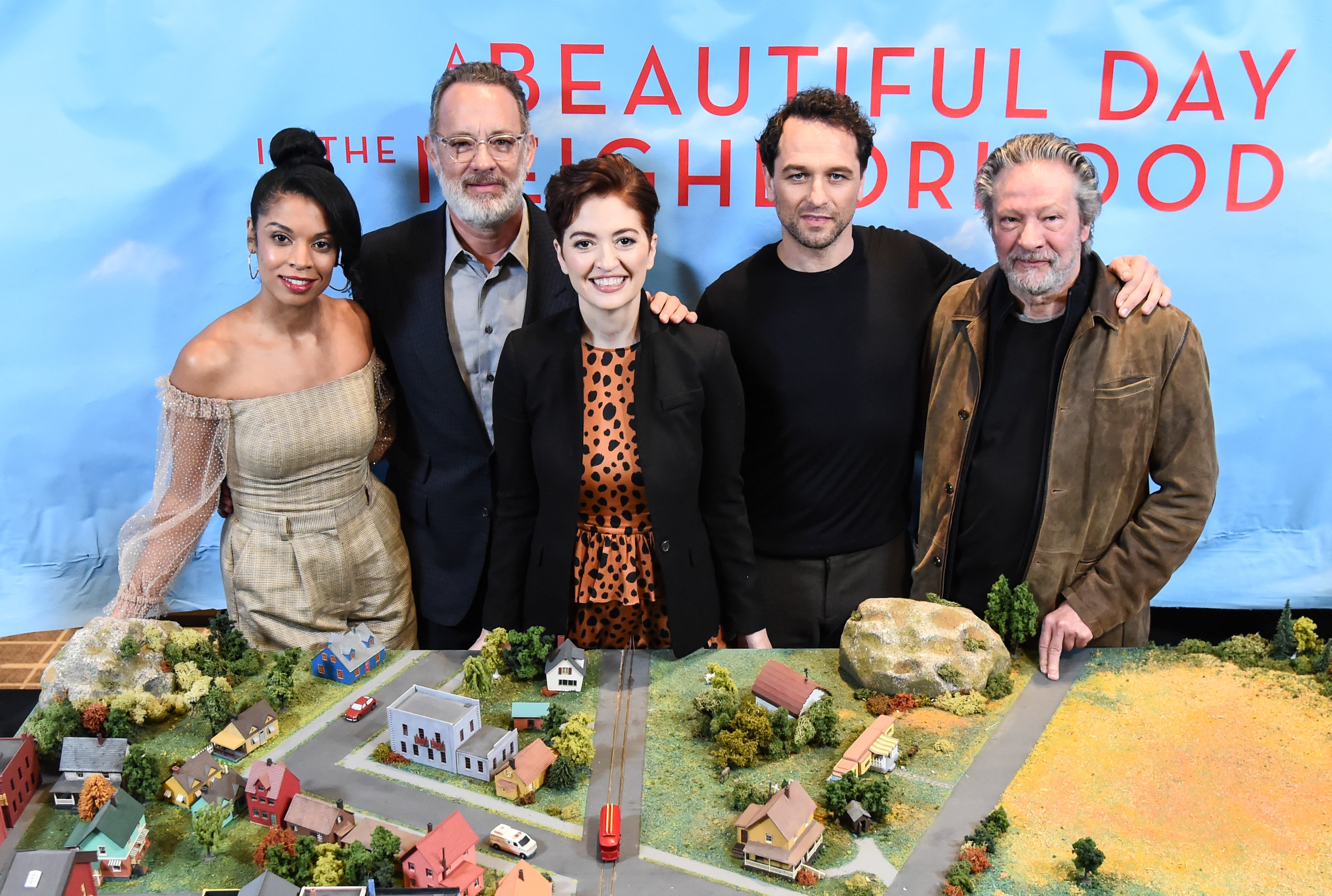 """Susan Kelechi Watson, Tom Hanks, Marielle Heller, Matthew Rhys and Chris Cooper attend the Photo Call for """"A Beautiful Day in the Neighborhood"""" at Four Seasons Hotel New York Downtown on November 17, 2019, in New York City. 