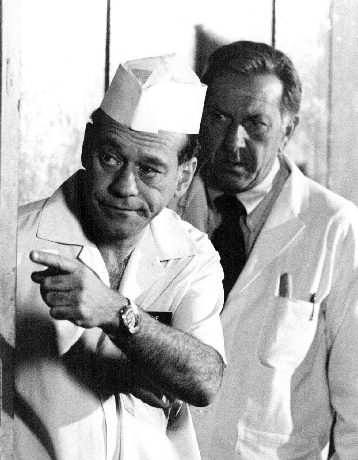 "Jack Klugman and Wynn Irwin from the television drama ""Quincy M. E."" 