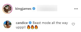 Candice's comment on Lebron James daughter Zhuri's dance video. | Photo: Instagram/kingjames