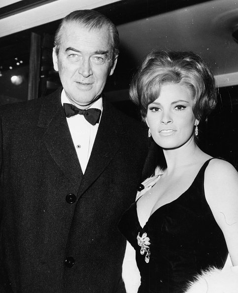 Raquel Welch and James Stewart at the premiere of the film 'The Flight of the Phoenix' on January 21st 1966   Photo: Getty Images