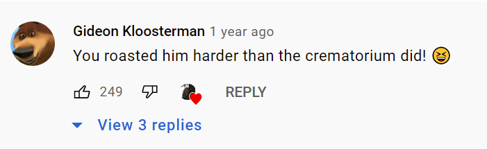 A user's comment on a woman's revenge video of her late husband. | Photo: youtube.com/Final Goodbye To The Nasty Bastard