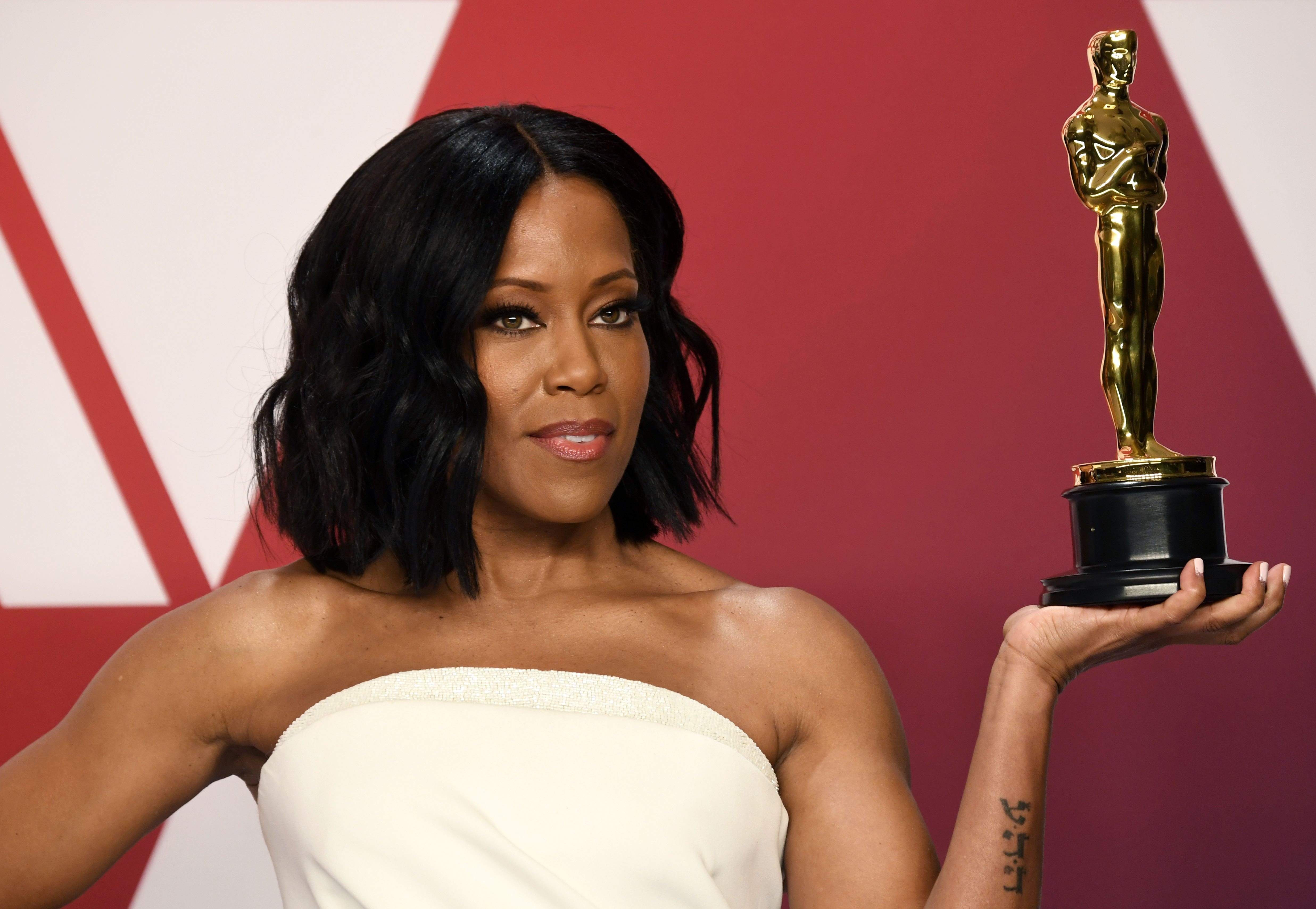 "Regina King, winner of Best Supporting Actress for ""If Beale Street Could Talk,"" poses in the press room during at Hollywood and Highland on February 24, 2019. 