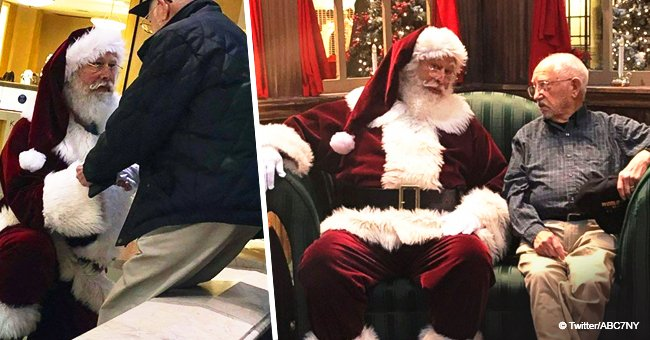 The story behind viral photo of a mall Santa kneeling before 93-year-old veteran still melts hearts