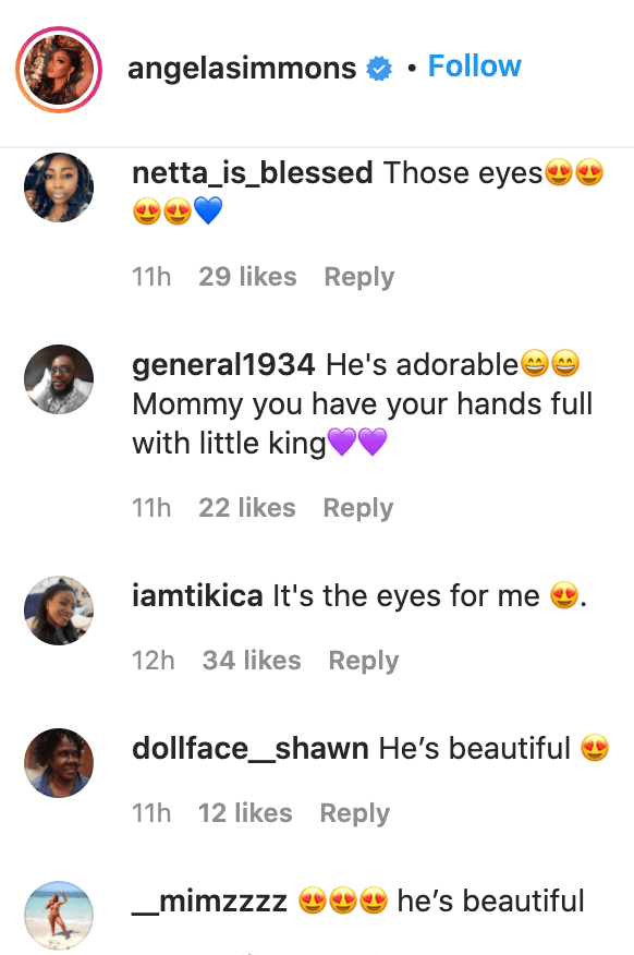 Fans' comments on Angela Simmons' post.   Source: Instagram/angelasimmons