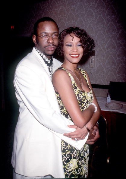 "Whitney Houston & Bobby Brown at ""Whitney Houston''s All-Star Holiday Gala"" in New York on Dec. 4, 1999 