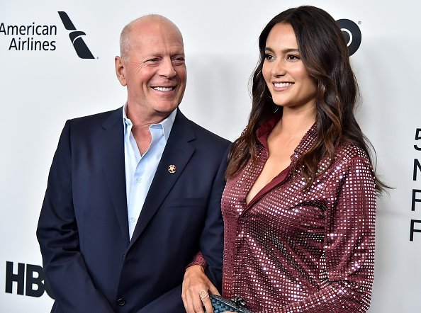 "Bruce Willis and wife Emma Heming Willis at the ""Motherless Brooklyn"" Arrivals during the 57th New York Film Festival in New York City.