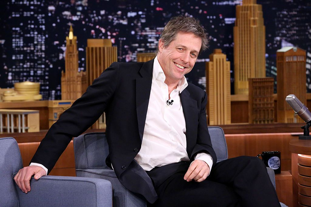 """Hugh Grant on the set of """"The Tonight Show Starring Jimmy Fallon"""" in 2015 