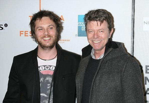 "Duncan Jones and David Bowie at the premiere of ""Moon"" at the 8th Annual Tribeca Film Festival in 2009 in New York 