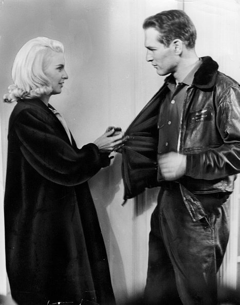 "Paul Newman and Joanne Woodward work on a scene for their movie ""From the Terrace"" on December 1, 1959 in East Norwich, N.Y.. 