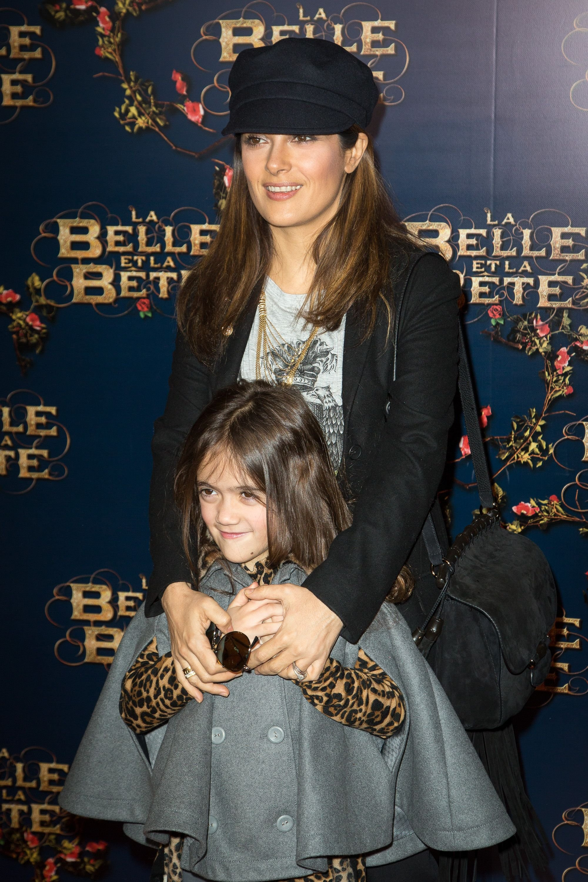 """Salma Hayek and daughter Valentina Paloma Pinault at """"The Beauty and the Beast"""" premiere in Paris, France in 2014 