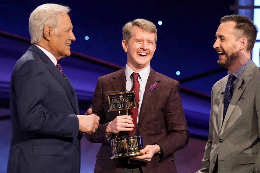 "Alex Trebek (left), Ken Jennings (center) and Brad Rutter on ""Jeopardy! The Greatest Of All Time"" which premiered 7 January. 