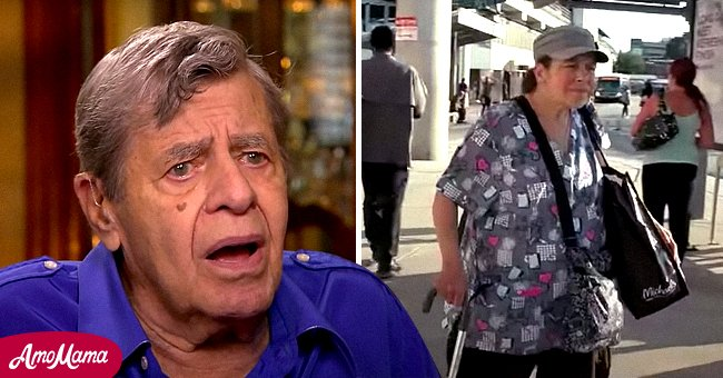 Jerry Lewis in an interview and Suzan Lewis on the streets of Philadelphia   Photo: YouTube.com/c/InsideEdition - YouTube.com/CBSSundayMorning