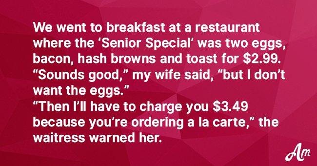 Joke: A Waitress Refused to Take an Older Woman's Order