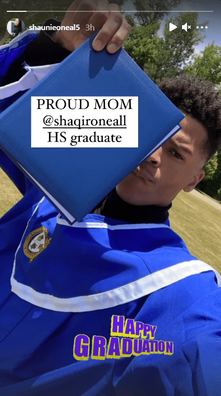 Shaunie O'Neal sharing an Instagram story wishing her son a happy graduation. | Source: Instagram/shaunieoneal5
