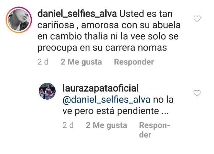 Respuesta de Laura Zapata a seguidor.  | Imagen: Instagram/ Laurazapataoficial