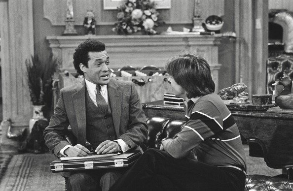 "Franklyn Seales as Dexter Roosevelt Stuffins and Joel Higgins as Edward W. Stratton III from ""Silver Spoons."" 