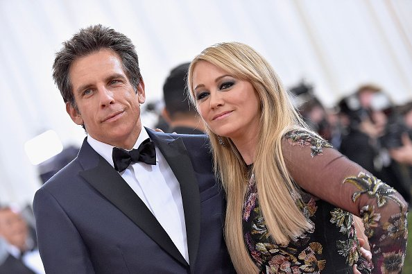"Ben Stiller (L) and Christine Taylor attend the ""Manus x Machina: Fashion In An Age Of Technology"" Costume Institute Gala at Metropolitan Museum of Art on May 2, 2016, in New York City. 