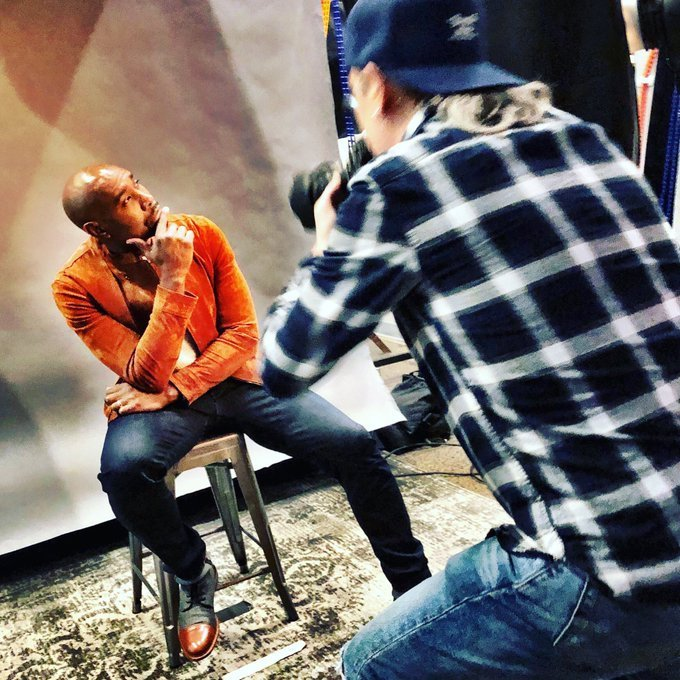 Source: Twitter / Morris Chestnut / Morris Chestnut holds his chin during a photo shoot