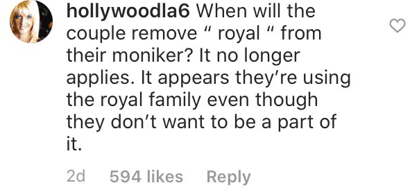Fans' comment on the Duke and Duchess of Sussex' Instagram account | Source: Instagram/sussexroyal