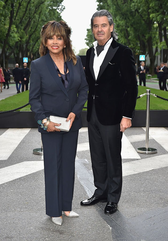 Tina Turner and Erwin Bach attend the Giorgio Armani 40th Anniversary Silos Opening And Cocktail Reception on April 30, 2015 in Milan, | Source: Getty Images