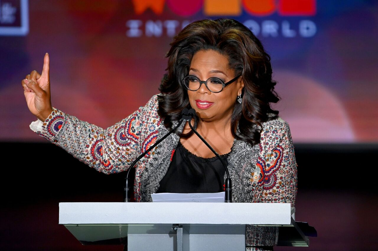 Oprah Winfrey speaks onstage the 10th Anniversary Women In The World Summit. | Source: Getty Images