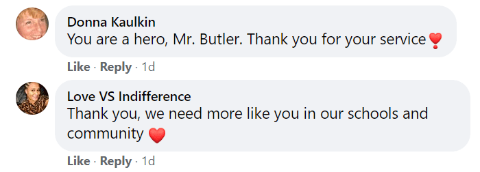 Some comments that John Butler received for helping Daverius Peters. | Photo: Facebook/imjussayinyoucoulddobetter