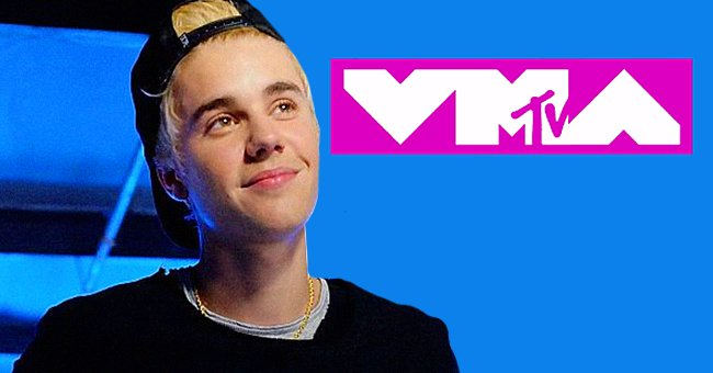 Justin Bieber atthe Grand Opening of West Coast Customs Burbank Headquarters on December 7, 2014, in California and the MTV VMA logo | Photos:Jerod Harris/Getty Images and Wikipedia/Richardcuyar/MTV VMA/CC BY-SA 4.0