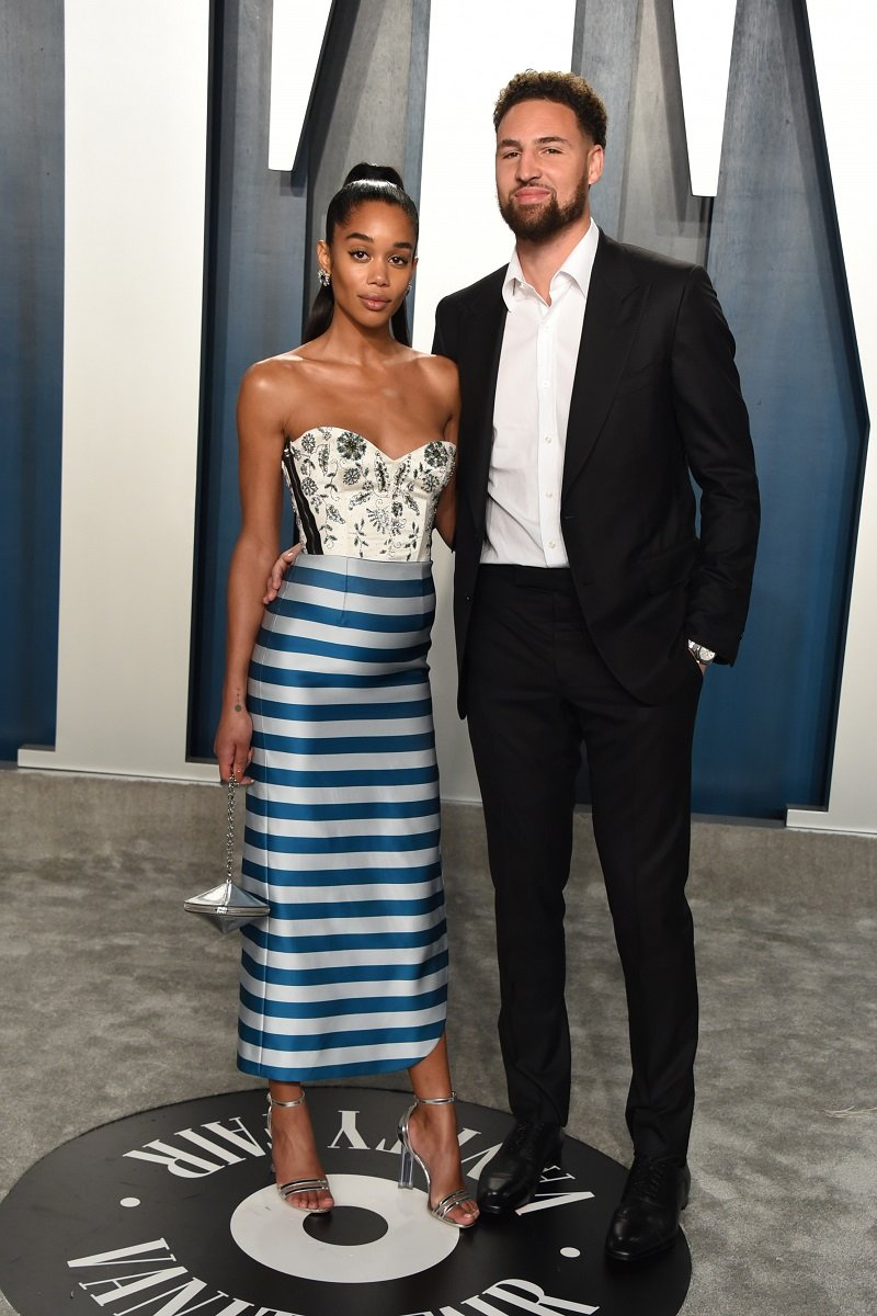 Laura Harrier and Klay Thompson on February 09, 2020 in Beverly Hills, California   Photo: Getty Images