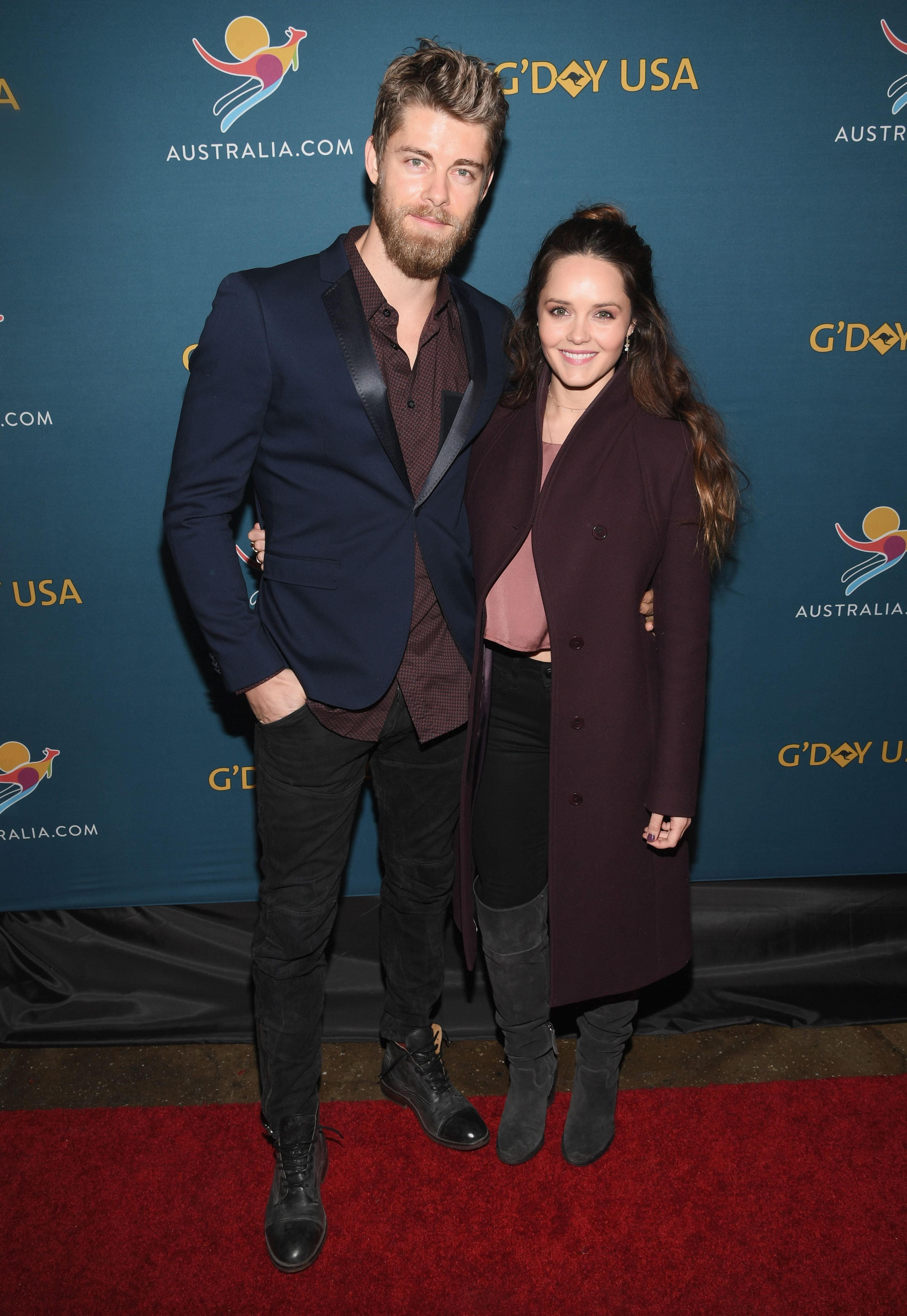 "Luke Mitchell and Rebecca Breeds at the ""Virtual Tour of Australia"" in 2017 in New York City 