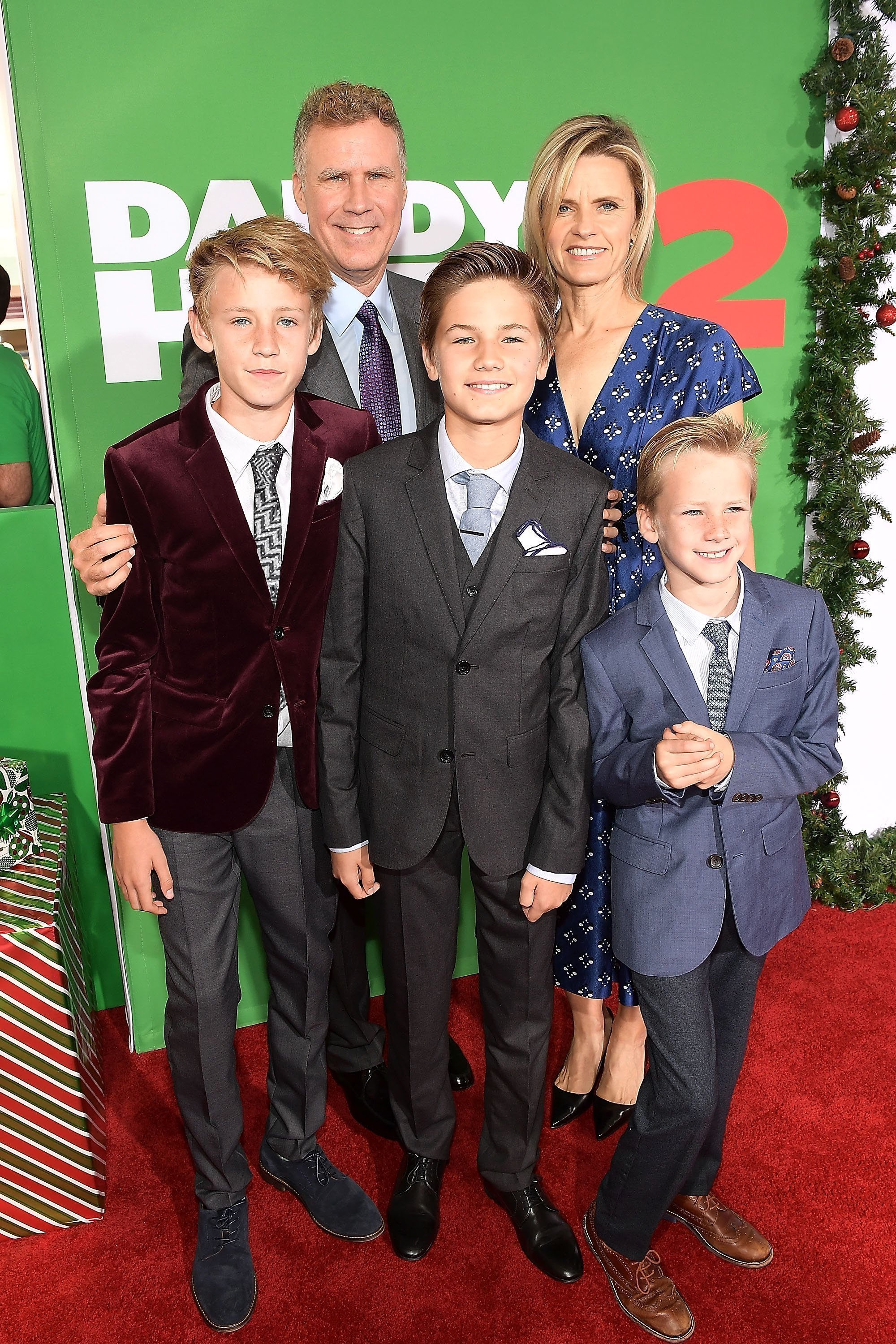 "Will Ferrell with his wife and sons at the premiere of ""Daddy's Home 2"" in Westwood, California on November 5, 2017 