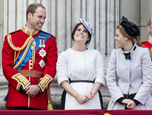 Prince William, Princess Eugenie and Princess Beatrice at Buckingham Palace on June 15, 2013 in London, England. | Photo: Getty Images