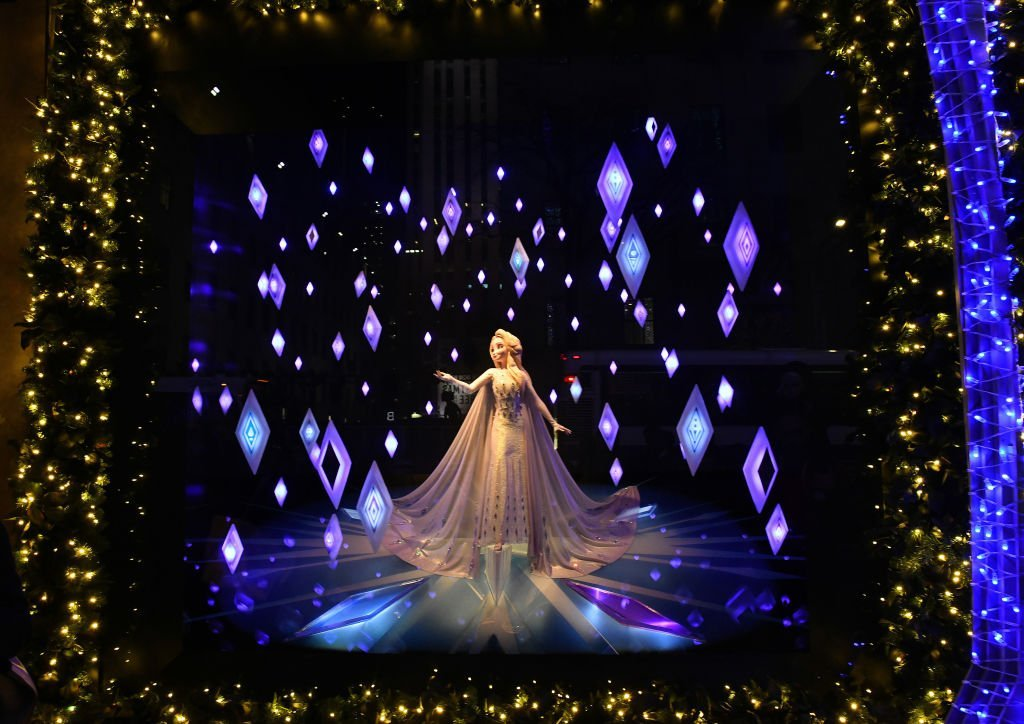 "A view of the windows during the Disney and Saks Fifth Avenue unveiling of ""Disney Frozen 2"" holiday windows on November 25, 2019. 