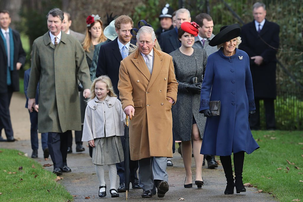 Savannah Phillips, Autumn Phillips, Prince Harry, Prince Charles, Princess Eugenie and Camilla, Duchess of Cornwall attend a Christmas Day church service at Sandringham on December 25, 2016 in England | Photo: Getty Images