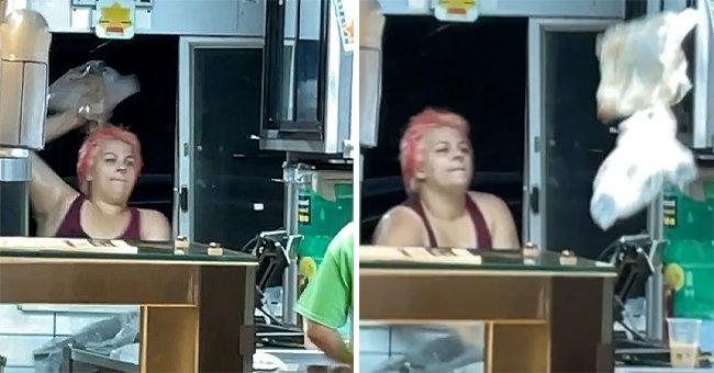 The enraged customer destroying McDonald's property and throwing objects at the staff | Photo: Tiktok.com/camanese