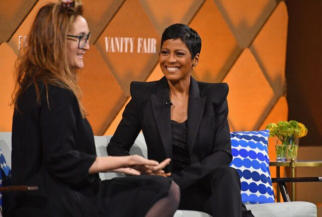 Tamron Hall speaking at a Vanity Fair event | Source: Getty Images/GlobalImagesUkraine