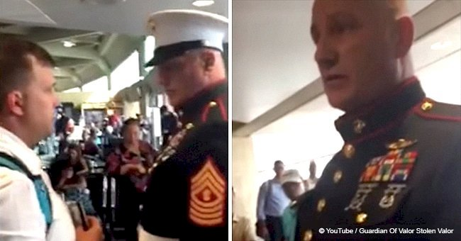 Army officer approached a fake U.S. Marine at the airport and emotions ran high