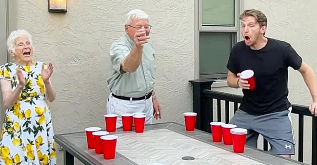 Elderly Couple Goes Viral For Playing Beer Pong