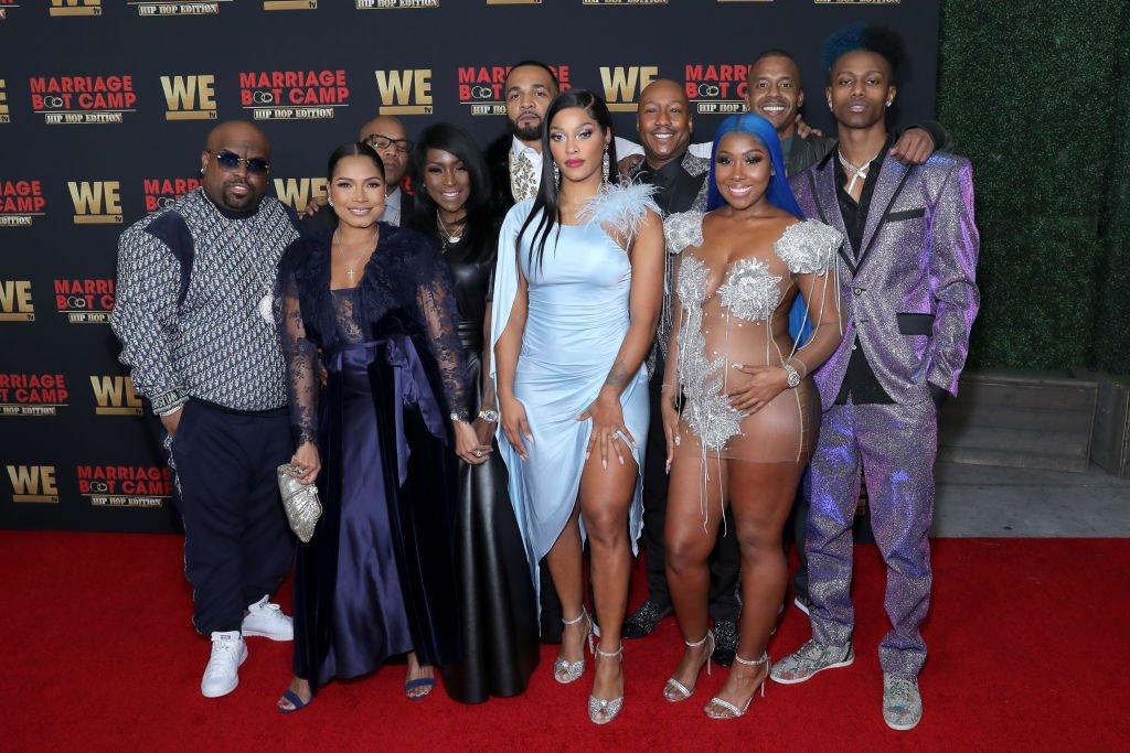 "CeeLo Green, Shani James, Styles P, Adjua Styles, Balistic Beats, Joseline Hernandez, Dr. Ish Major, Bianca Bonnie, Robert ""Stew"" Stewart and Chozus pose on the red carpet at the premiere for ""Marriage Boot Camp: Hip Hop Edition"" on February 04, 2020, in Los Angeles, California 