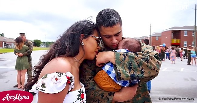 Marine returns home to meet his 6-month-old son for the first time (video)
