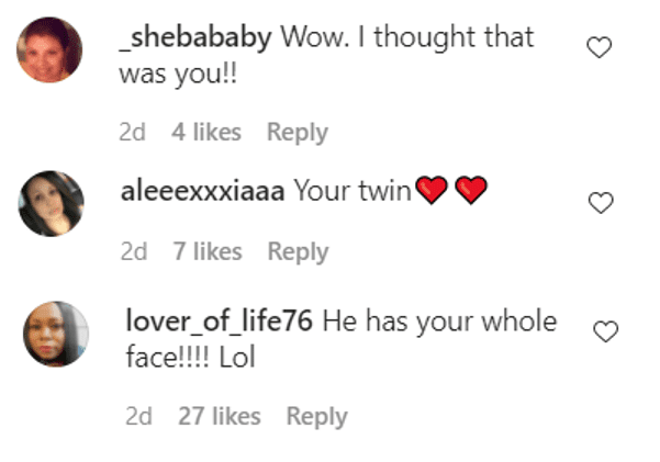Screenshot of IG comments on Nia Long's picture of her son Kez Sunday | Source: Instagram/iamnialong
