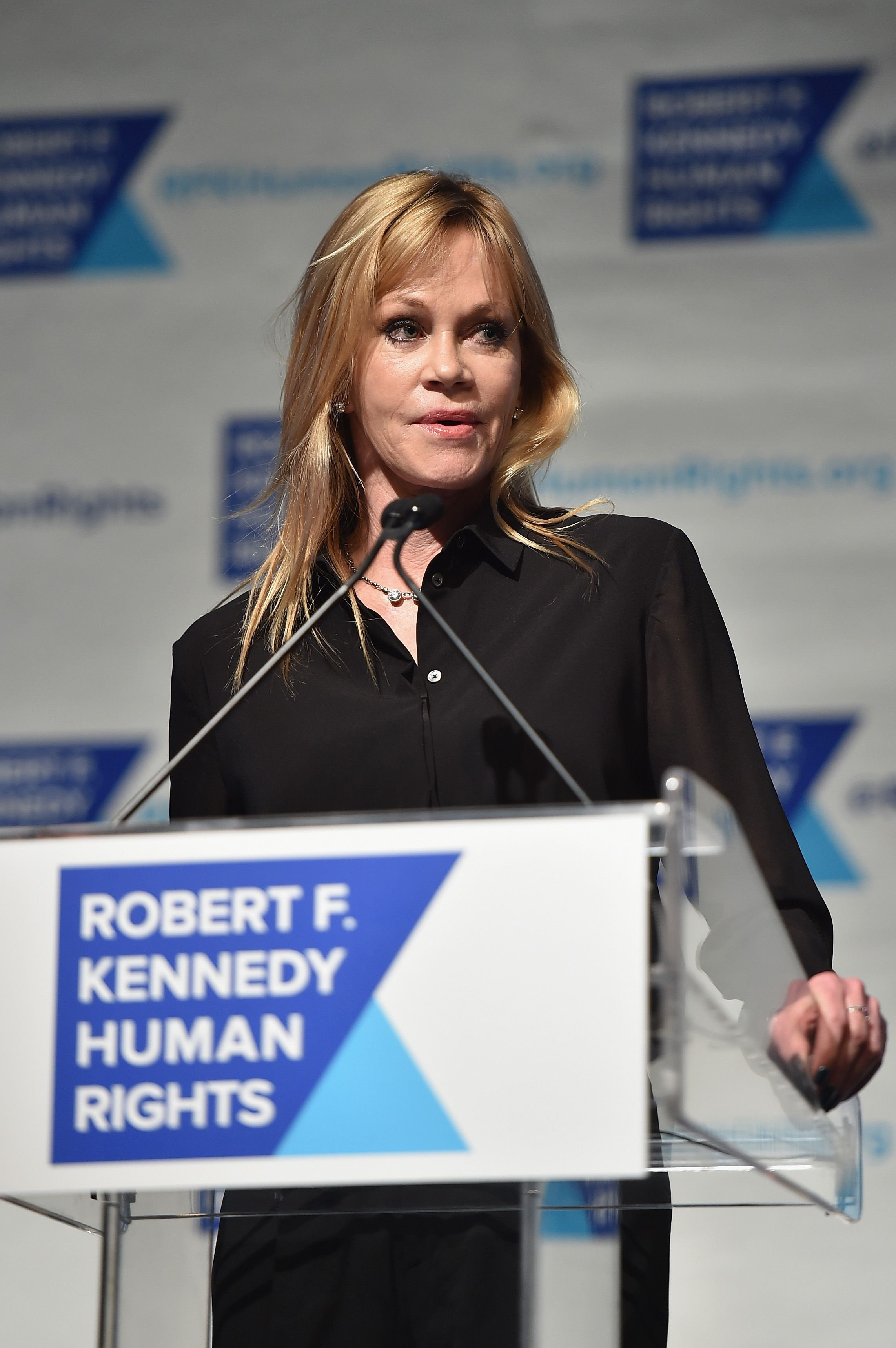 Melanie Griffith at the RFK Ripple of Hope Gala at Hilton Hotel Midtown on December 16, 2014, in New York City | Photo: Mike Coppola/Getty Images