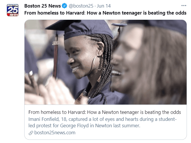 An image on June 14, 2021, of Imani Fonfield and another student during graduation after she was accepted into the Harvard University after being homeless | Photo: Twitter/@boston25