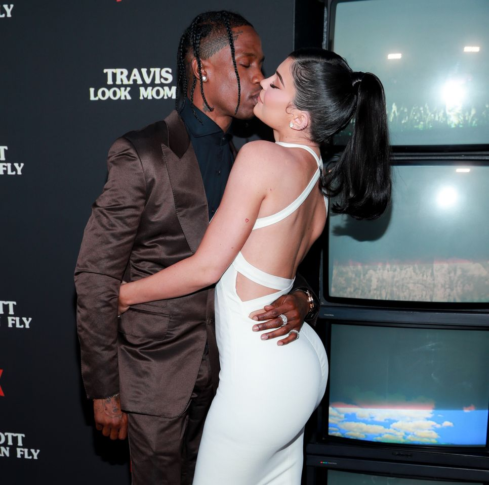 "Travis Scott and Kylie Jenner at the premiere of ""Travis Scott: Look Mom I Can Fly"" at Barker Hangar on August 27, 2019 in Santa Monica, California. 