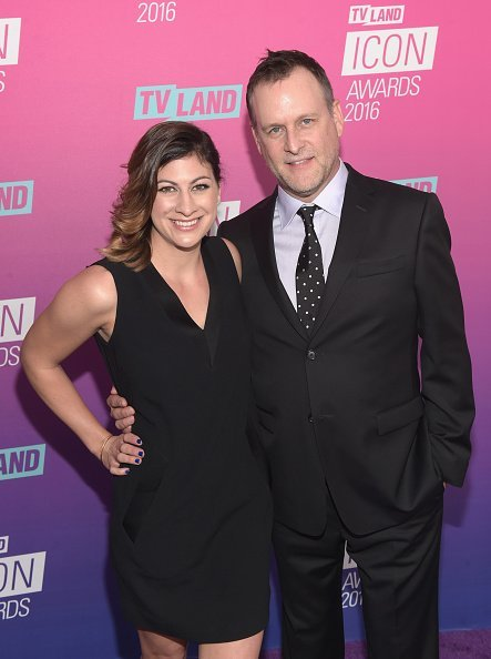 Dave Coulier (R) and Melissa Bring attend 2016 TV Land Icon Awards at The Barker Hanger on April 10, 2016, in Santa Monica, California. | Source: Getty Images.