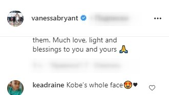 A screenshot of a fan's comment on Vanessa Bryant's post on her instagram story | Photo: instagram.com/vanessabryant/
