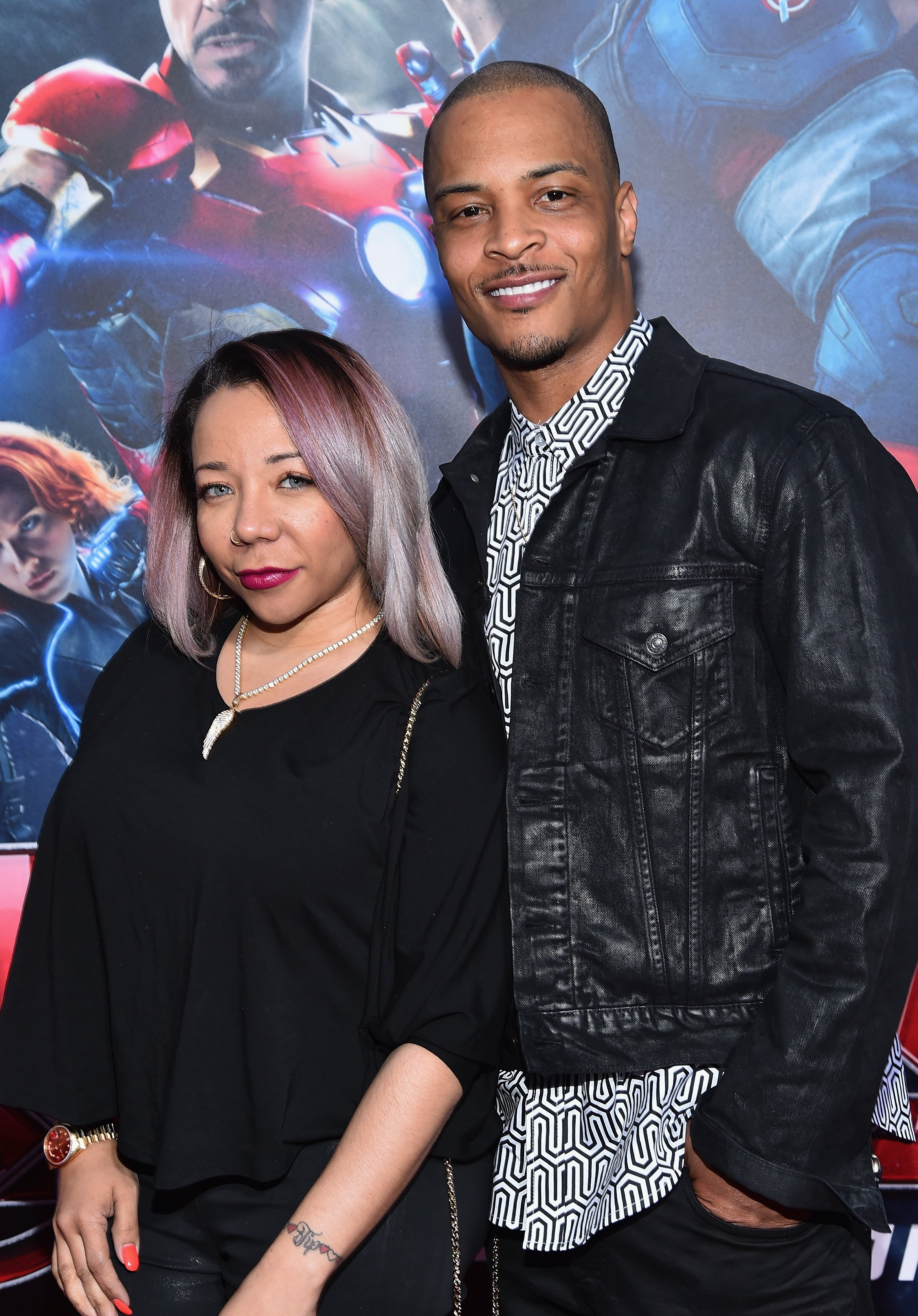 "Tiny and T.I. at the world premiere of ""Avengers: Age Of Ultron"" at the Dolby Theatre on Apr. 13, 2015 in Hollywood, California. 