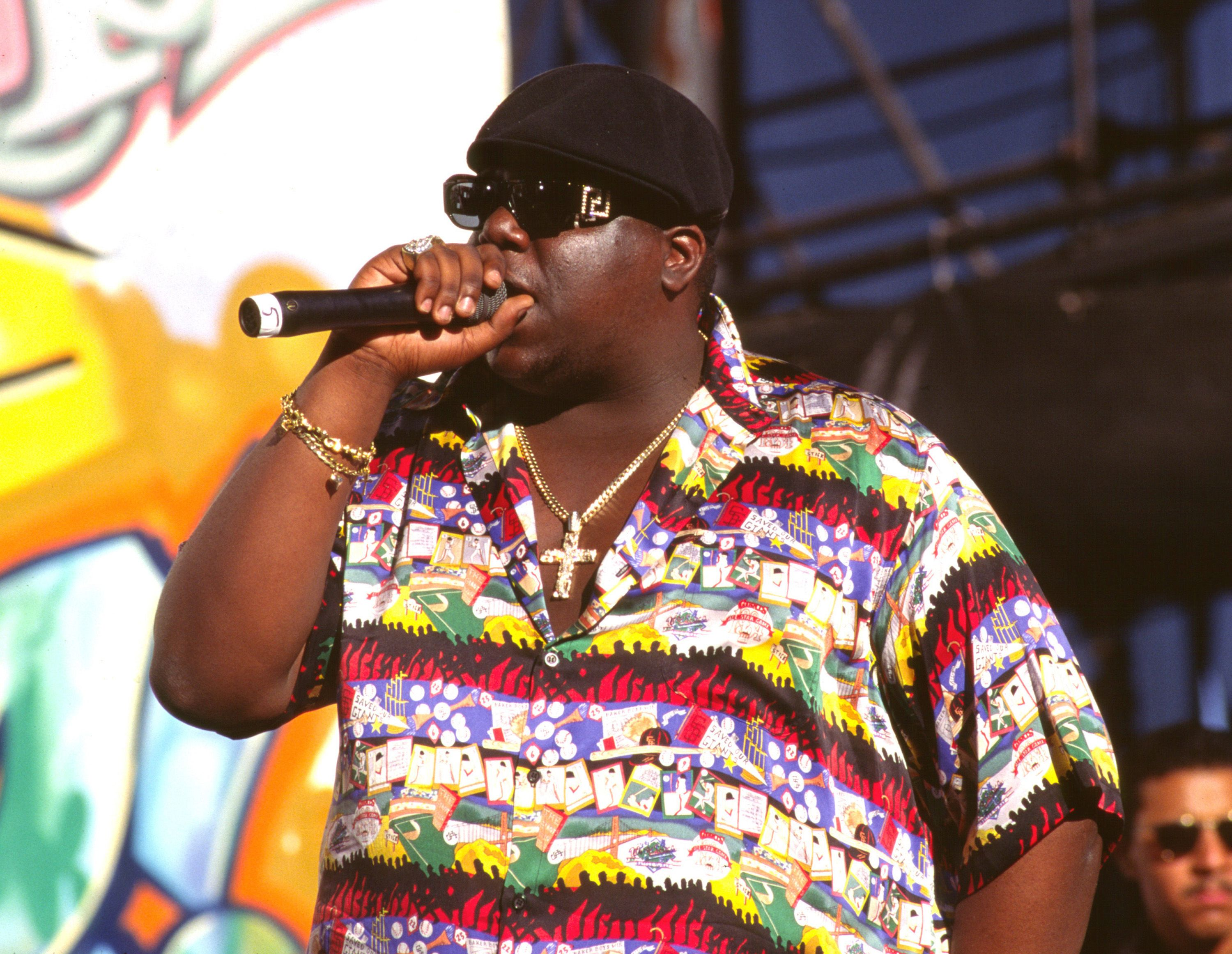 Notorious B.I.G. performing on stage, circa 1995. | Source: Getty Images