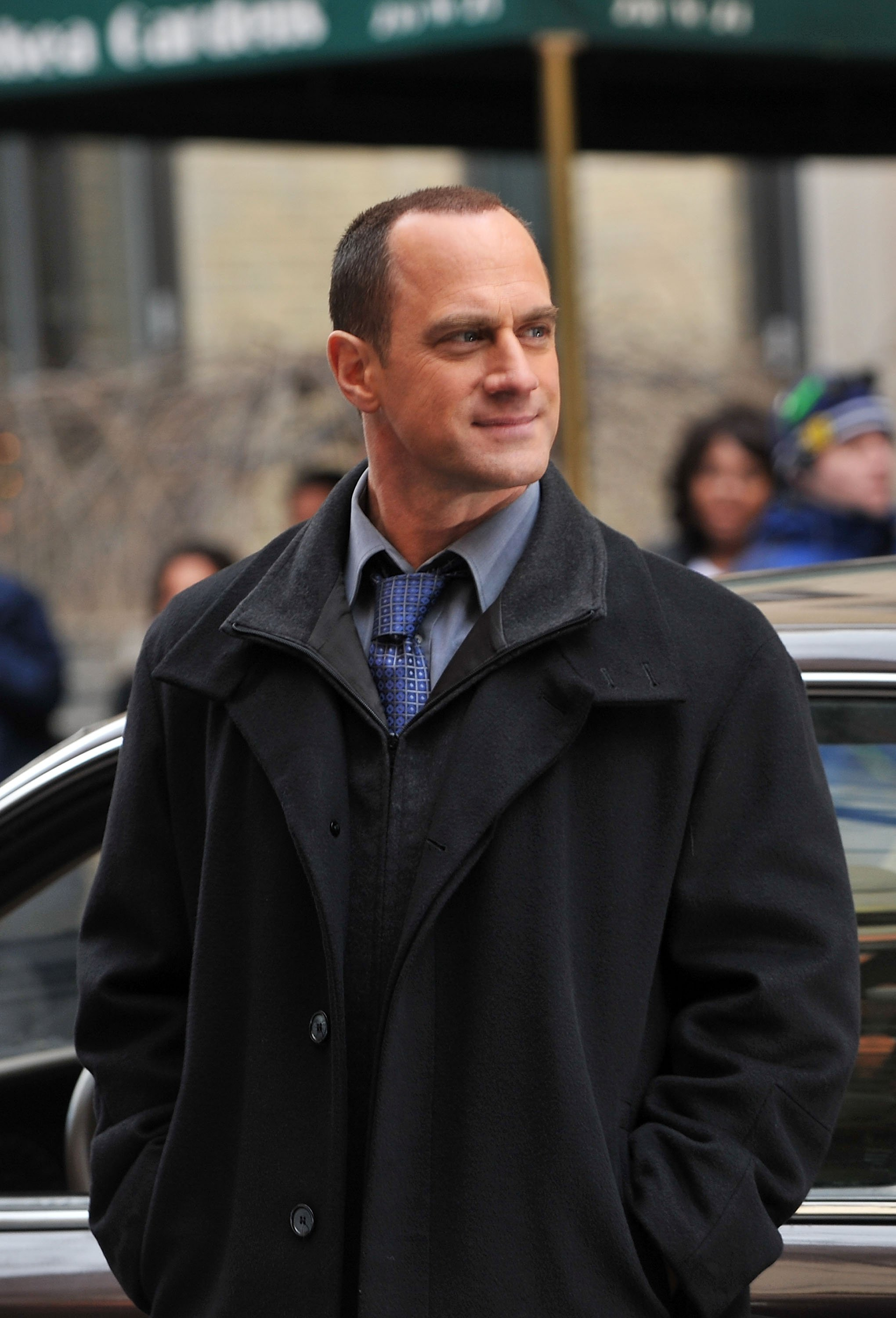 "Christopher Meloni on location for ""Law & Order: SVU"" on the streets of Manhattan on January 26, 2010. 